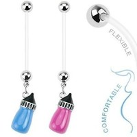 Belly Button Ring Maternity Pregnancy Baby bottle NPG-1005 BodyJewelryOnline