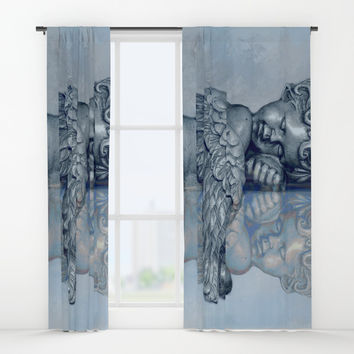 Sleeping Angel Window Curtains by Theresa Campbell D'August Art