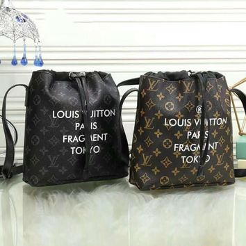 One-nice™ LV Louis Vuitton Women Casual School Bag Cowhide Leather Backpack I-LLBPFSH