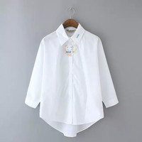 White Tiger Letter Embroidery Long-Sleeve Collar Shirt