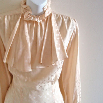 Vintage Cream Graphic Silk Blouse with by wildthingvintage on Etsy