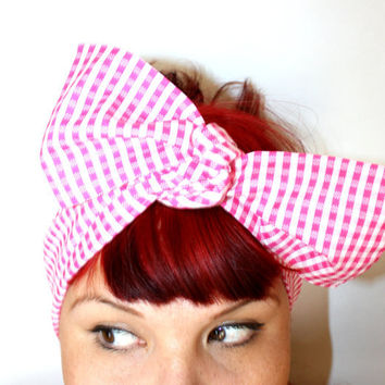 Bow style, Vintage Inspired Head Scarf, Pink and white gingham, Rockabilly, Retro, Shabby chic