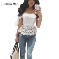 Women Sexy Off Shoulder Tank Top Slash Neck Sleeve Lace Up Tie Tops High Waist Back Zipper Lace Crochet White Crop Top