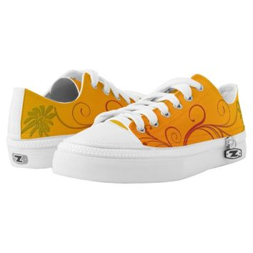 Orange Flower Printed Shoes