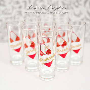 10 Shot Glasses, Personalized, Wedding Party, Bachlorette, Birthday, Beach, Bikini, Made to Order