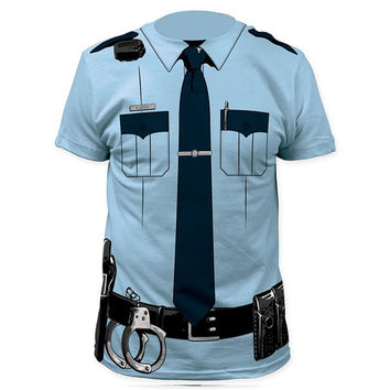 Men Police 3D T Shirt Doctor Gentleman Adult Funny Party Cop Pirate Vampire Santa Claus Uniform Halloween Cosplay Costume