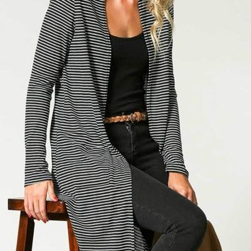 Black Ivory Striped Maxi Cardigan