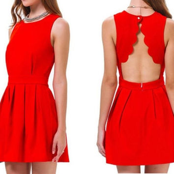 Elegant Women Sexy Open Back Dresses Short Solid Ladies Summer Party Vestidoes Red = 1695596292