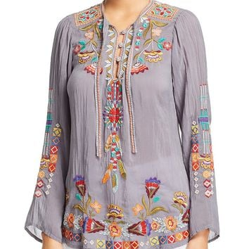 Johnny Was Free Spirit Blouse Cloudburst