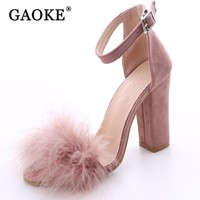 Women's Sexy Suede and Fur Open Toe High Heel Shoe