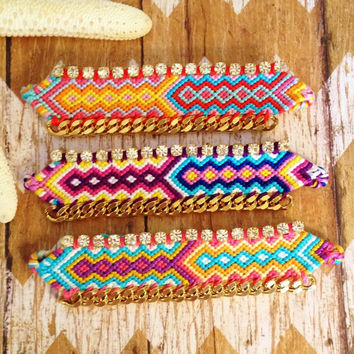OOAK Colorful Woven Cotton Friendship Bracelet with Rhinestones and Gold Plated Chain | Tribal Inspired | Boho Glam | Gift for Her