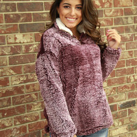 Peach Love Frosty Tipped Sherpa Pullover