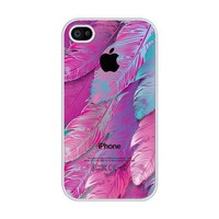 iZERCASE Pink Feather rubber iphone 4 case - Fits iphone 4 & iphone 4s