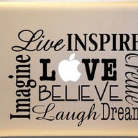 Macbook Live LAUGH Love Vinyl Decal Subway Art for Laptop or iPad | MakeItMineDesigns - Techcraft on ArtFire