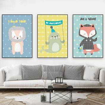 Nordic Style Cartoon Animals Posters Print Cute Fox Fish Lion Paintings Canvas Home Decor Modern Children Room Wall Art Pictures