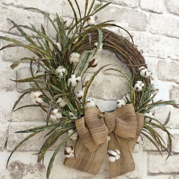 Cotton Wreath, Cotton Boll Wreath, Summer Wreath for Door, Front Door Wreath, Summer Door Wreath, Grapevine Wreath, Silk Wreath,Outdoor,Fall