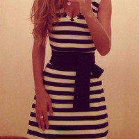 Striped Sleeveless A-Line Dress