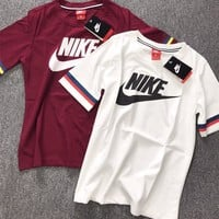 """Nike"" Unisex Sport Casual Letter Print Stripe Short Sleeve Couple T-shirt Top Tee"