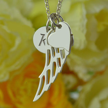 Love Heart Angel Wing Necklace Personalized Monogram Initial Necklace Custom Angel Wing Charm Sterling Silver Name Jewelry