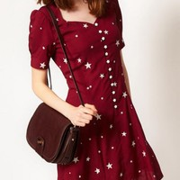Single Breasted Stars Print Dress$40