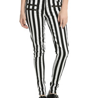 Blackheart Black & White Striped Zippered Stingerette Jeans