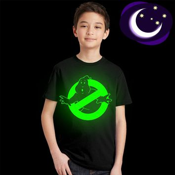 kids streetwear Fluorescent Glow In Dark children tops tees Ghostbusters T-shirt boys girls T Shirts Ghost Busters Tee Shirts
