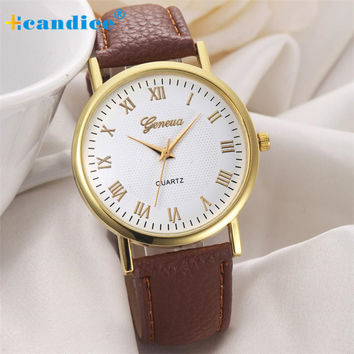 New 2016 Hot Selling Gold edges simple style Geneva Women Eiffel Tower Dial Leather Band Analog Quartz Wrist Watchs Jun 09