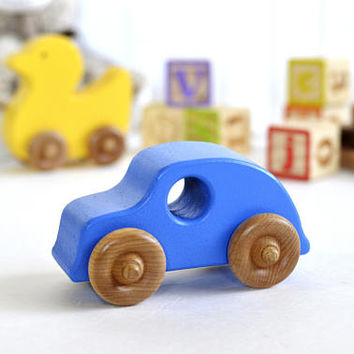 Wooden Car - Classic Car - Blue - Classic toy - Wooden toy - Handmade  - Children's toys - Gift Idea - Christmas Gift - Push Toys - Vehicles