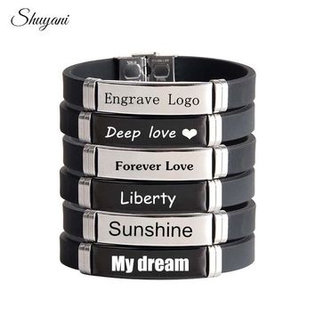 Laser Engrave Name ID Bracelet Personalized Name Bracelet For Men Stainless Steel Soft Leather Bracelet Customized Jewelry