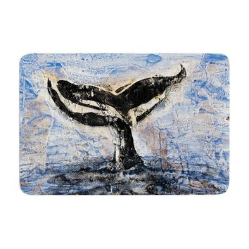"Josh Serafin ""Whale Tail"" Coastal Painting Memory Foam Bath Mat - Outlet Item"