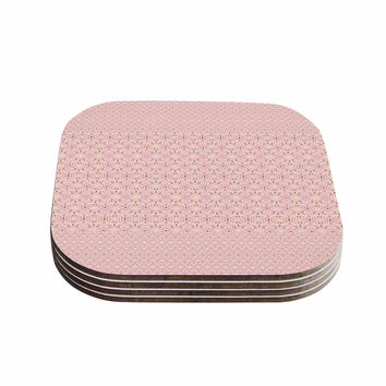 "Carolyn Greifeld ""Modern Shabby"" Pink Abstract Coasters (Set of 4)"