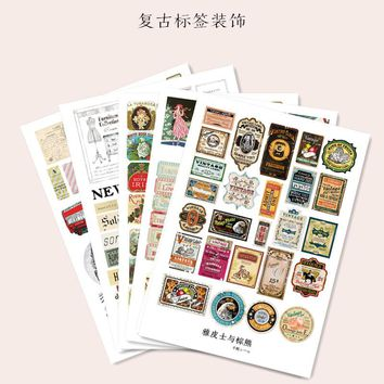 Self-made Stickers Retro decoration small label Stickers Retro furniture / lab DIY Craft Photo Albums Decals Diary Stickers /A4