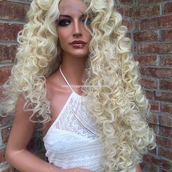 """Dianna Long Blonde Human Hair Blend Multi Parting lace front wig 30"""""""