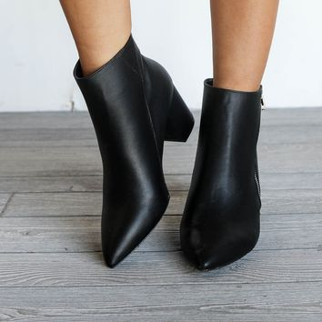Step It Up Black Zipper Pointed Toe Ankle Bootie