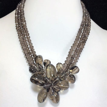 Soms 925 Smoky Quartz Necklace, Attached Flower Bead Centerpiece, Sterling Silver Clasp, Faceted Beads, Boho Gypsy Festival Style 718m