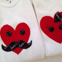 Boy Girl Twins Onesuit - Valentine Onesuits for Twins - Boy Girl Twin Outfits - Boy Girl Valentine Outfits