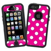 "White Polka Dot on Hot Pink ""Protective Decal Skin"" for Otterbox Defender iPhone 5 Case"