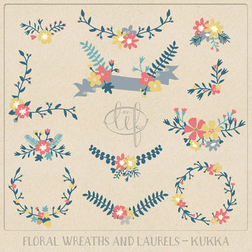Vector Floral Clip Art Flower Wreaths and Laurels. Hand drawn flower set for creating cards invitations, wedding themes, scrapbooking
