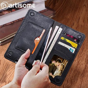 Leather Wallet Case Men Female Women Purse Credit Card Holder