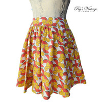 Vintage Min Skirt, Fruit Print/Novelty Print Skater Skirt, Grunge Girl Summer Vero Moda Fashion Clothing
