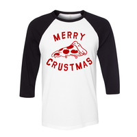 Merry Crustmas Pizza (Red) Baseball Tee