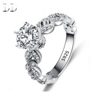 Hot sale fashion jewelry Wedding engagement rings for women White Gold plated AAA Zircon cz Diamond Jewelry luxury bague