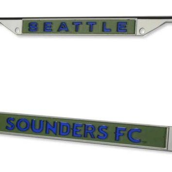 Seattle Sounders FC Chrome Metal LASER License Plate Tag Frame Cover Soccer Club