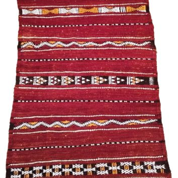 Moroccan Flat Weave Kilim Rug - Hand Woven Zemmour in Red Wool - 39.5 x 22.5 inches