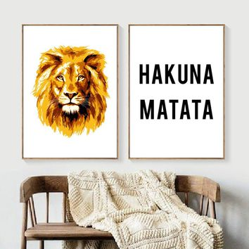 Cartoon Lion Hakuna Matata Quote Wall Art Canvas Painting Nordic Posters And Prints Animal Wall Pictures Kids Room Bedroom Decor