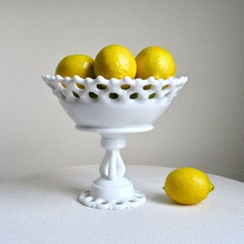 Westmoreland Milk Glass Pedestal Fruit Bowl  -- Doric Pattern - White Bowl