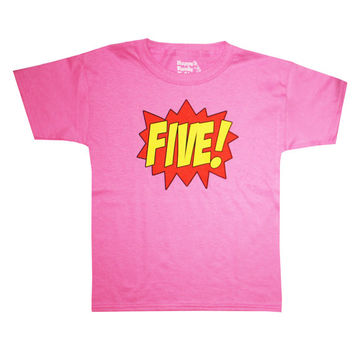 Kids SUPERHERO Fifth Birthday T-shirt - Hot Pink