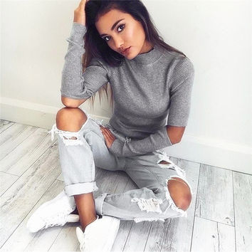 Women Autumn Winter High Collar Knitted Sweater Sexy Cool Cut Long Sleeved Pullover