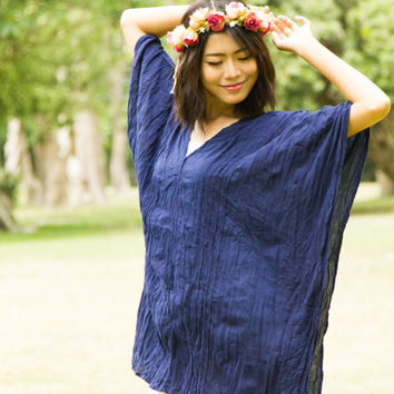 Navy Kaftan Bohemian Dress - Boho Dress, Kimono Dress, Sundresses, Hippie dress, Vacation beach dress, holiday dress, plus size dress