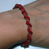 Bead Crochet Bracelet Red and Gold brick French red and by lanmom